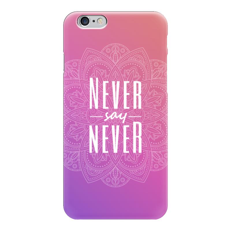 Чехол для iPhone 6 глянцевый Printio Мандала с цитатой never say goodbye