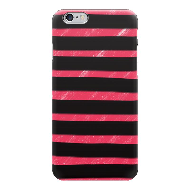 Чехол для iPhone 6 глянцевый Printio Полосато-розовый чехол для муха iq446 кожа iq446 роскошь полиуретан открытая вверх и пуховик черный белый розовый цвет