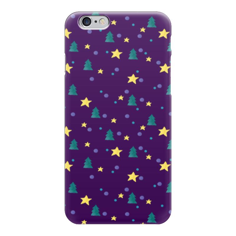 Чехол для iPhone 6 глянцевый Printio Елки и звезды