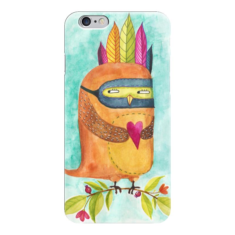 Чехол для iPhone 6 глянцевый Printio Рыжая сова индеец