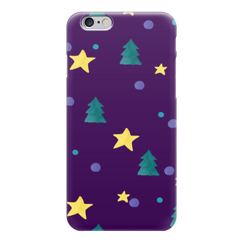 Чехол для iPhone 6 глянцевый Printio Звезды и елки
