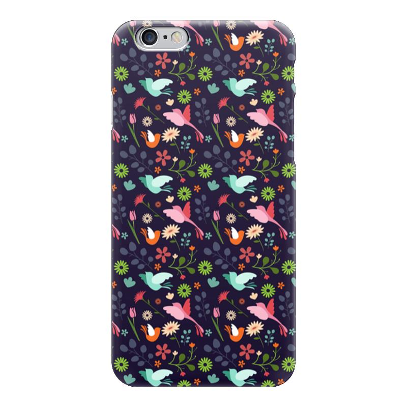 Чехол для iPhone 6 глянцевый Printio Birds & flowers