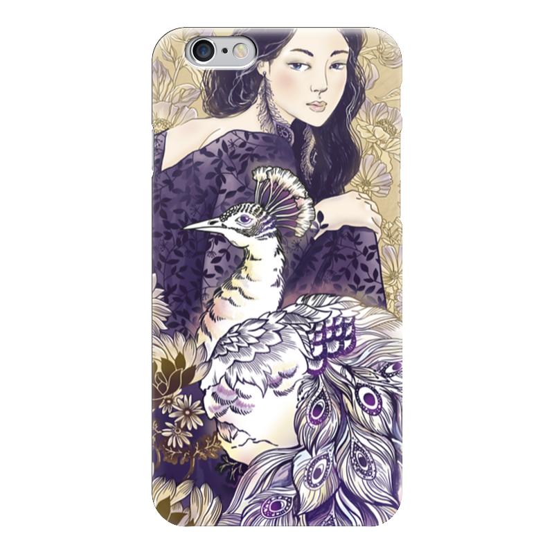 Чехол для iPhone 6 глянцевый Printio Девушка и павлин