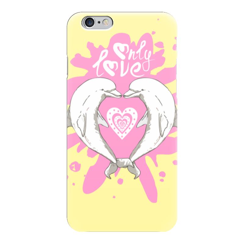 Чехол для iPhone 6 глянцевый Printio Влюбленные дельфины наклейка для интерьера дельфины