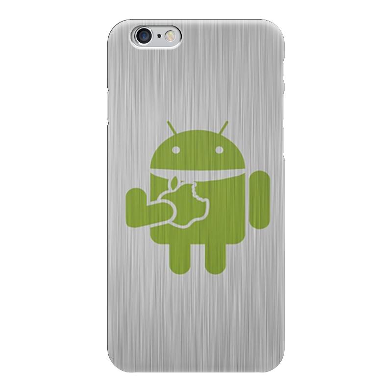 Чехол для iPhone 6 глянцевый Printio Андроид кушает как купить программу на маркете андроид