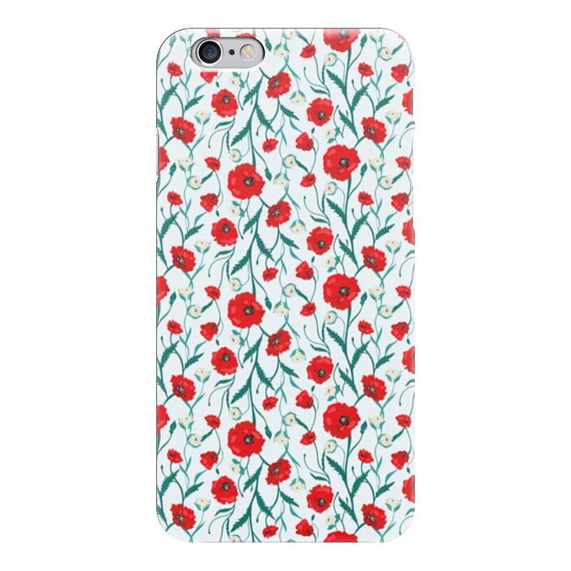 Чехол для iPhone 6 глянцевый Printio Красные маки на белом фоне цена