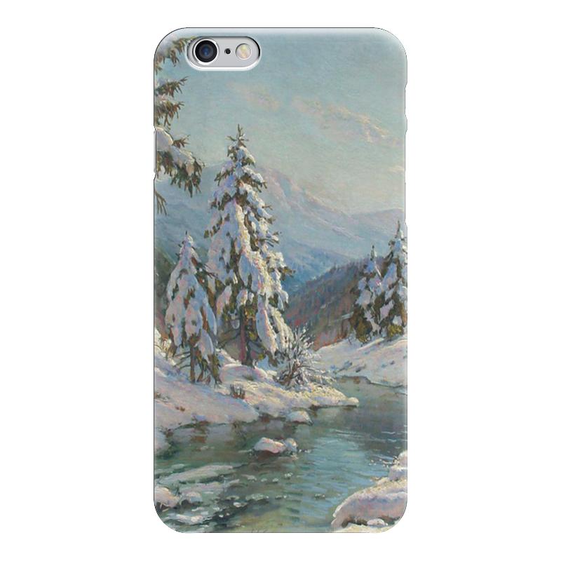 Чехол для iPhone 6 глянцевый Printio Зимний пейзаж с елями чехол для iphone 5 глянцевый с полной запечаткой printio зимний