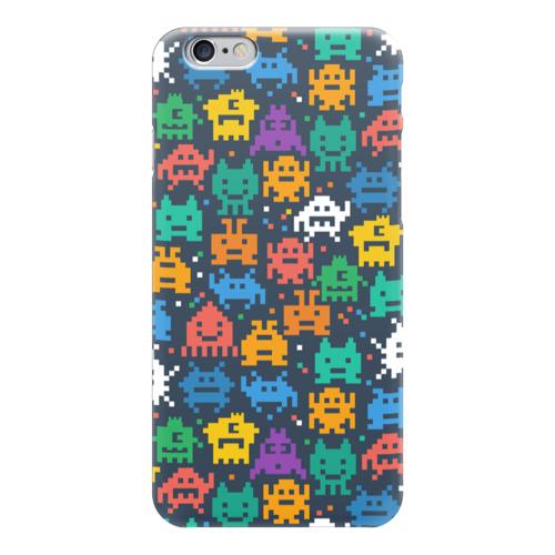 """Чехол для iPhone 6 """"Монстры пиксели"""" - minecraft, pacman, монстры, pixel art, пиксели"""