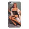 """Чехол для iPhone 6 глянцевый """"девушка с зеркалом"""" - девушка, ретро, рисунок, пинап, pin-up"""