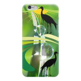 """Чехол для iPhone 6 глянцевый """"Журавли"""" - стиль, солнце, журавли"""