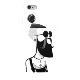 "Чехол для iPhone 6 глянцевый ""Хипстер"" - хипстер, hipster, рисунок, черно-белый"