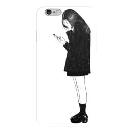"Чехол для iPhone 6 ""why live is so hard?"" - девушка, белый, чёрный, девочка, грустная"