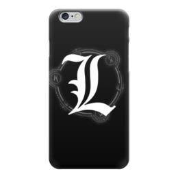 """Чехол для iPhone 6 глянцевый """"""""L"""" (Тетрадь смерти)"""" - аниме, тетрадь смерти, что подарить, черный чехол, именной"""