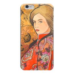 """Чехол для iPhone 6 """"Русский стиль"""" - девушка, красный, орнамент, хохлома, золотой"""