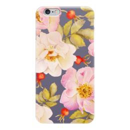 """Чехол для iPhone 6 """"ШИПОВНИК НА СИНЕМ"""" - цветы, rose, flowers, шиповник"""