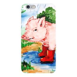 """Чехол для iPhone 6 """"Маленькая свинка"""" - ручная работа, детский рисунок, от детей, детская работа"""