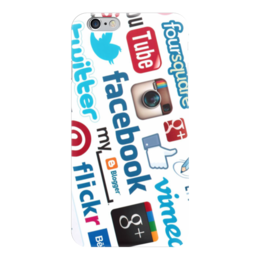"Чехол для iPhone 6 ""Соц. сети"" - twitter, like, you tube"