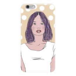 """Чехол для iPhone 6 глянцевый """"Горошек"""" - люди, портреты, горох, лица, скетч"""