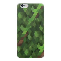 "Чехол для iPhone 6 глянцевый ""Minecraft (Майнкрафт)"" - крипер, кубы, моб, копатель, майнкрафт"