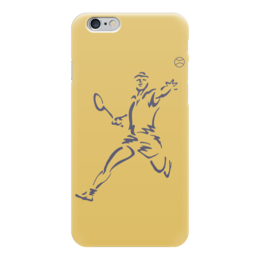 """Чехол для iPhone 6 глянцевый """"Большой теннис"""" - спорт, спортсмен, ракетка, мяч"""