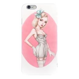 """Чехол для iPhone 6 глянцевый """"Гламурная провокация"""" - арт, девушка, пин ап, блондинка, розовый"""