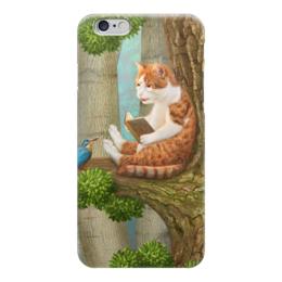 """Чехол для iPhone 6 """"Читающий кот"""" - кот, cat, лес, сказка, книга"""