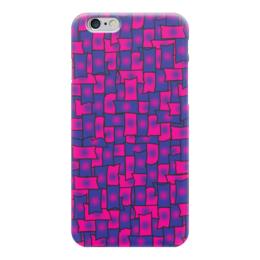 """Чехол для iPhone 6 """"Прямоугольники"""" - черный, красный, синий, край, прямоугольник"""