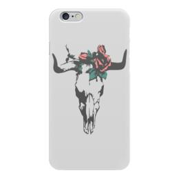 """Чехол для iPhone 6 глянцевый """"Череп Быка"""" - череп, цветы, розы, рога, бык"""
