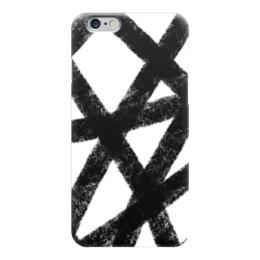 """Чехол для iPhone 6 """"След от уголька"""" - черный, черно-белый, абстракция, уголь, графит"""