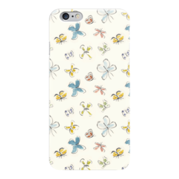 """Чехол для iPhone 6 глянцевый """"Бабочки"""" - бабочки, белый, природа, акварель, насекомы"""