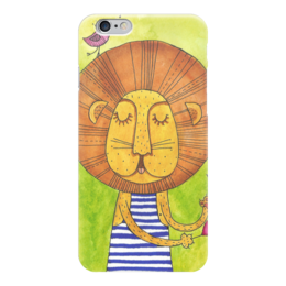 """Чехол для iPhone 6 """"Лев Бонифаций в тельняжке (1)"""" - лев, акварель, грива, бонифаций, тельняжка"""