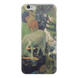 """Чехол для iPhone 6 глянцевый """"Белая лошадь"""" - картина, поль гоген"""