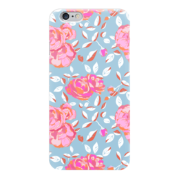 "Чехол для iPhone 6 ""Roses on blue"" - арт, роза, паттерн, blue, roses"