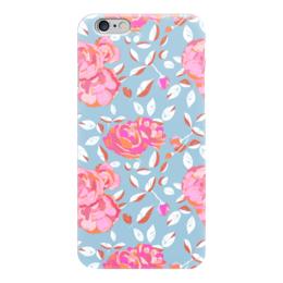 """Чехол для iPhone 6 """"Roses on blue"""" - арт, роза, паттерн, blue, roses"""