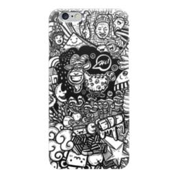 """Чехол для iPhone 6 глянцевый """"Иллюстрация"""" - баран, козел, звезда, ананас, люди"""