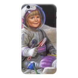 """Чехол для iPhone 6 глянцевый """"Маленькая астронавтка (1)"""" - космос, день космонавтики"""