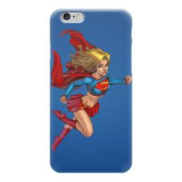 "Чехол для iPhone 6 ""superman"" - комиксы, superman, супер мэн, синий фон, супер девушка"