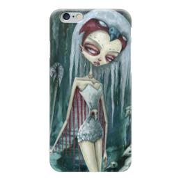 """Чехол для iPhone 6 """"Девушка (зомби)"""" - девушка, хэллоуин, зомби, птица, ворон"""