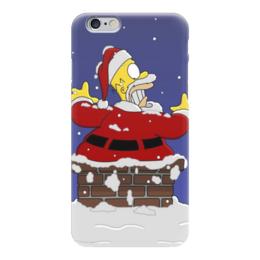 """Чехол для iPhone 6 """"Новогодний Гомер"""" - праздник, новый год, гомер, санта"""