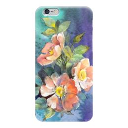 """Чехол для iPhone 6 """"Цветы шиповника"""" - цветы, синий, нежность, акварель, шиповнк"""