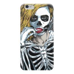 """Чехол для iPhone 6 """"Кобра Кай"""" - череп, девушка, скелет, иллюстрация"""