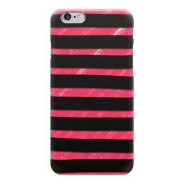 """Чехол для iPhone 6 """"Полосато-розовый"""" - черный, розовый, полосатый, полоски"""