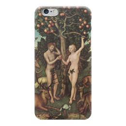 """Чехол для iPhone 6 глянцевый """"Адам и Ева (Лукас Кранах Старший)"""" - картина, библия, кранах"""