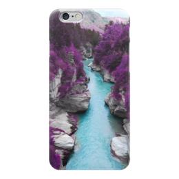 """Чехол для iPhone 6 глянцевый """"Природа"""" - фиолетовые, деревья, река, горы, камни"""