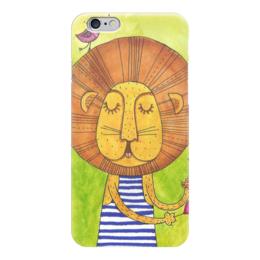 """Чехол для iPhone 6 """"Лев Бонифаций в тельняжке"""" - лев, акварель, грива, бонифаций, тельняжка"""