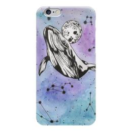"""Чехол для iPhone 6 """"небесный кит"""" - космос, луна, акварель, кит, созвездия"""