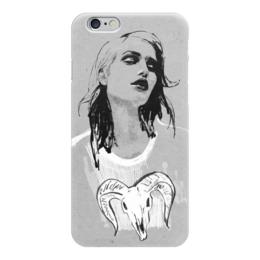 """Чехол для iPhone 6 глянцевый """"Овен / Aries"""" - череп, девушка, иллюстрация, символы, овен"""
