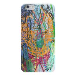 """Чехол для iPhone 6 глянцевый """"Шейный платок"""" - девушка, фигура, оранжевый, галстук, рубашка"""