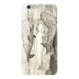 """Чехол для iPhone 6 """"Киты -TRIO"""" - любовь, море, сепия, белуга, киты"""