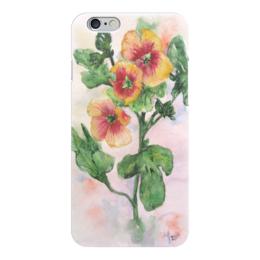 """Чехол для iPhone 6 """"Солнечная мальва"""" - цветок, зеленый, яркий, оригинальный, нежный"""